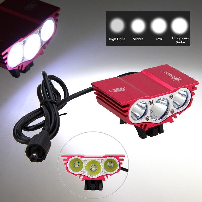 Étanche Vélo Lumières 3x XML U2 LED Avant de Bicyclette de Phare 4 Modes Vélo Lampe Torche avec Batterie Rechargeable Ensemble dans Vélo lumière de Sports et loisirs