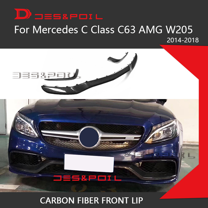 W205 C63 AMG Front Lip Under Splitter Bumper Carbon Fiber Diffuser Canards B Style For Mercedes-Benz 2014-2018 C63 C63S Sedan image