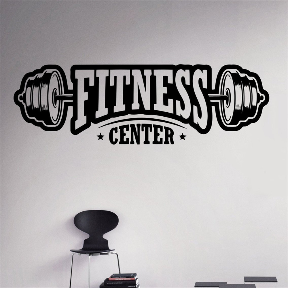 Sticker gym wall - Fitness Center Wall Decal Workout Gym Vinyl Sticker Healthy Lifestyle Home Interior Wall Art Murals Housewares