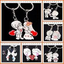 2015 Novelty Items Casual Couple Love Keychain Cartoon Key chain Lovers Key ring Women Wedding Jewelry Accessory Valentines Gift cute cartoon style couple lovers keychain silver pair