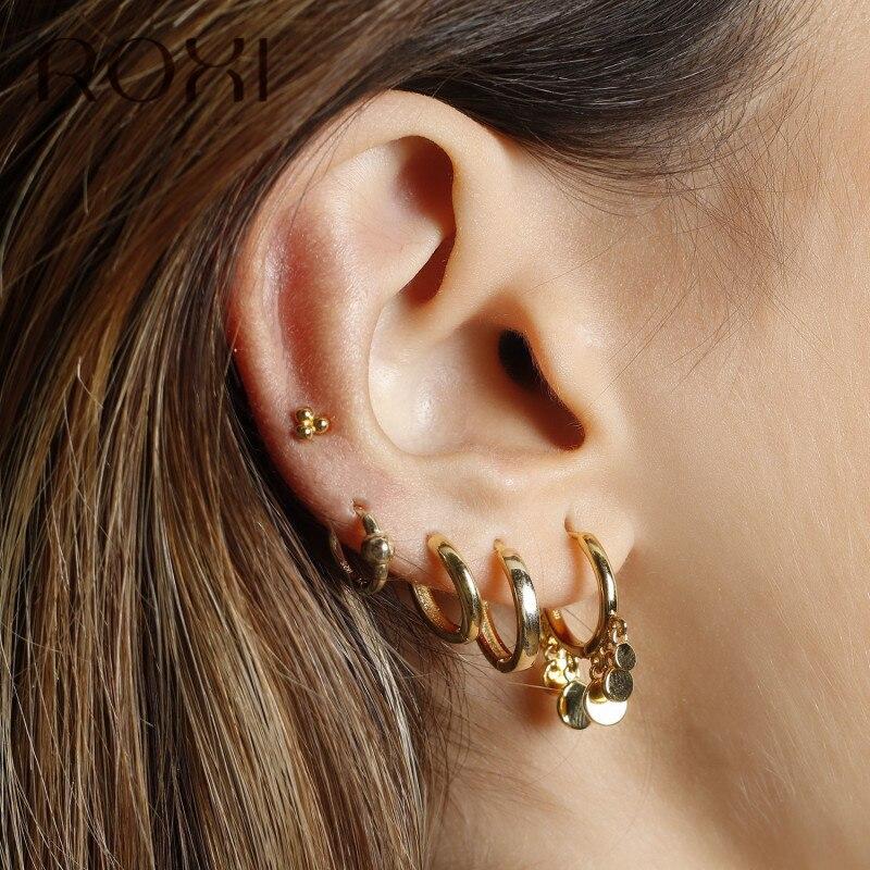 ROXI Minimalist Korean Earrings For Women 925 Sterling Silver Earrings Fashion Jewelry Three Ball Stud Earrings Cartilage Helix