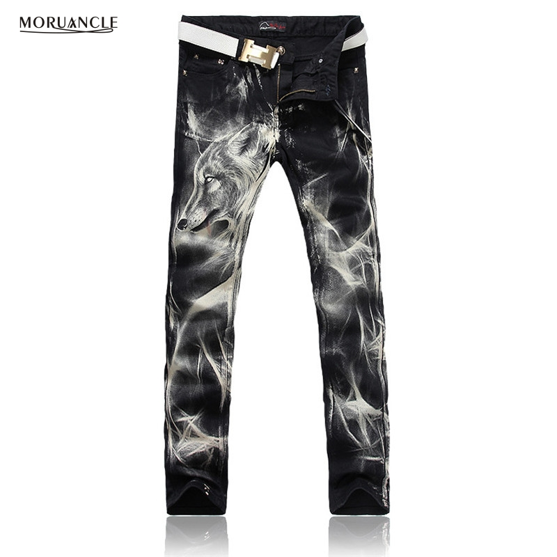 MORUANCLE New Fashion 2017 Mens Printed Jeans Pants Punk Style Wolf Painted Cotton Straight Leg Cool