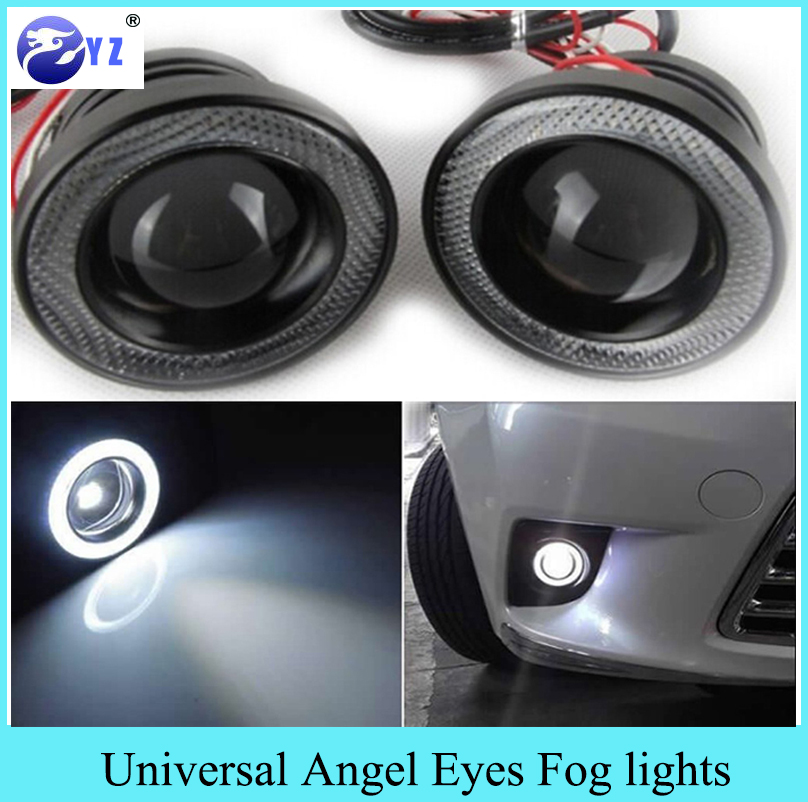1 Set 3.5 3.0 2.5 inch COB Angel Eyes Fog Lights Led Car Headlight Lamp DRL Universal Daytime running light 89mm 76mm 64mm turbine