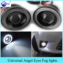 Auto 1 Set 3.5 3.0 2.5 inch COB Angel Eyes Mistlampen Led Auto Koplamp Lamp DRL Universele dagrijlichten 89mm 76mm 64mm(China)