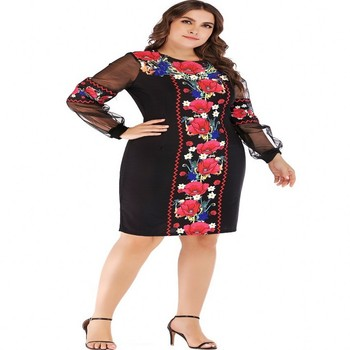 4XL 5XL Plus Size Women Dress 2019 Spring Autumn Big Size 6XL Ladies Mesh Floral Print Christmas Dress Black Midi Party Vestido