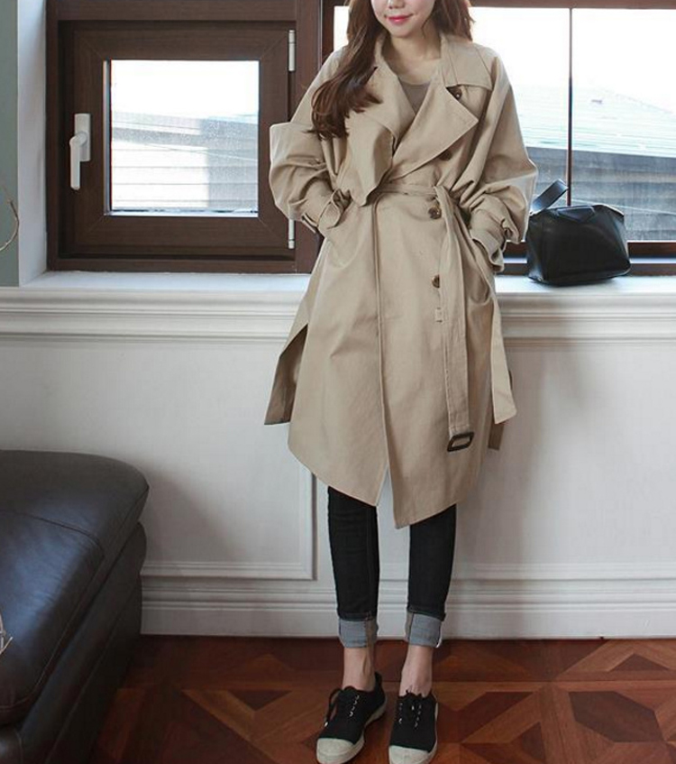 2018 Spring New Korean Double Button Shoulder Sleeve Medium Length Knee Split Wind Female Windbreaker Women   Trench
