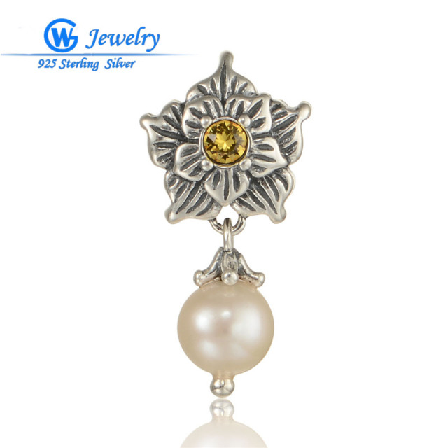 100% Natural Freshwater Pearl Pendant Genuine 925 Sterling Silver Jewelry  Women White Pearl  Bijoux GW Fine Jewelry S292H20