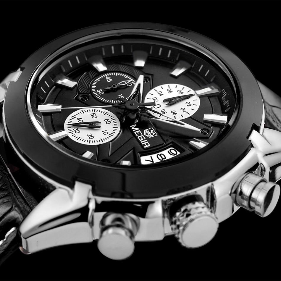Relogio Masculino MEGIR Funkcja Chronograph Mens Watch skórzana - Męskie zegarki - Zdjęcie 3