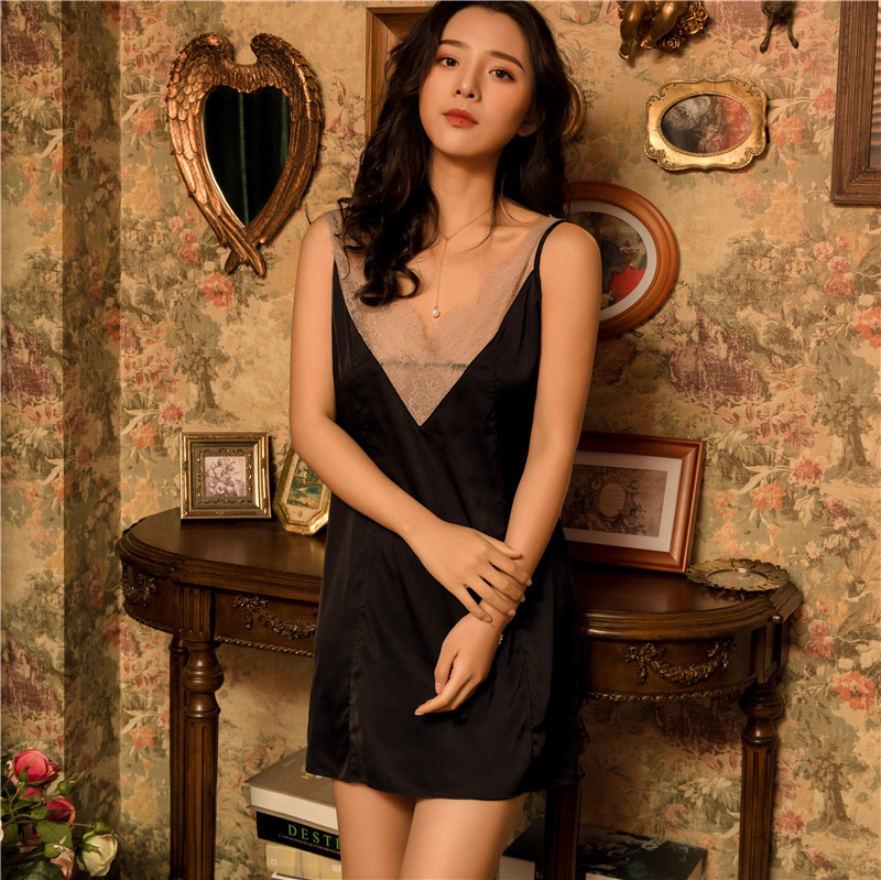 Summer Sexy Sleepwear Satin Women Nightshirts Nightdress Sexy Silk Lace   Nightgowns   Sleeveless Pijamas Nightdress   Sleepshirts