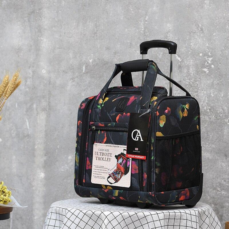 Popular brand canvas trolley suitcase bag fashion carry on rolling luggage bag unisex hand luggage trolley