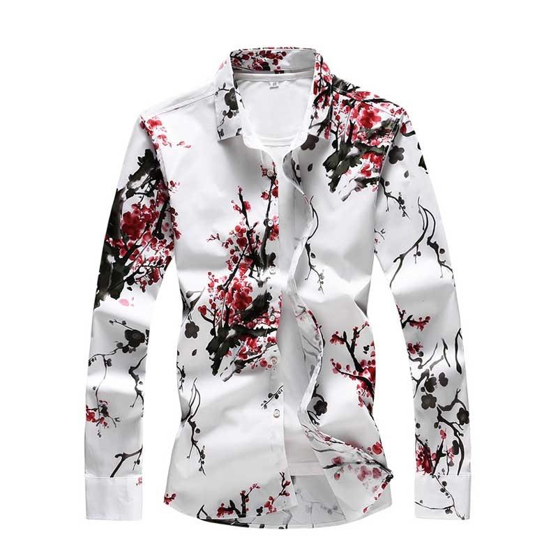 2018 Men Casual Long Sleeved Winter Plum Shirt Cotton Casual Social Shirts Men Clothing Cultural Camisa Masculina 5XL 6XL 7XL