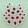 925-Sterling-Silver Red Garnet Jewelry Sets Silver Bracelets/Drop Earrings/Ring/Necklace/Pendant For Women Jewery Box