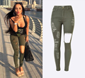 Women High Waist Slim Stretch Ripped Legs Skinny Washed Denim Jeans Pants For Calca Feminina
