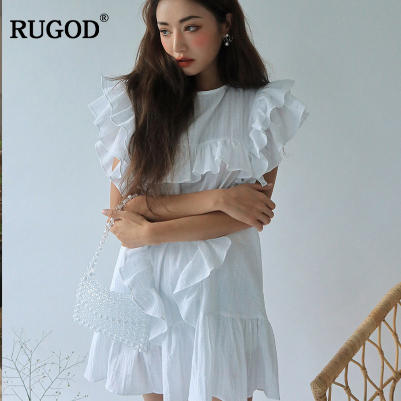RUGOD 2019 New Summer White And Black Prairie Chic Sweet Short Women Dress O-Neck Butterfly Sleeve Loose Vintage Casual Vestidos