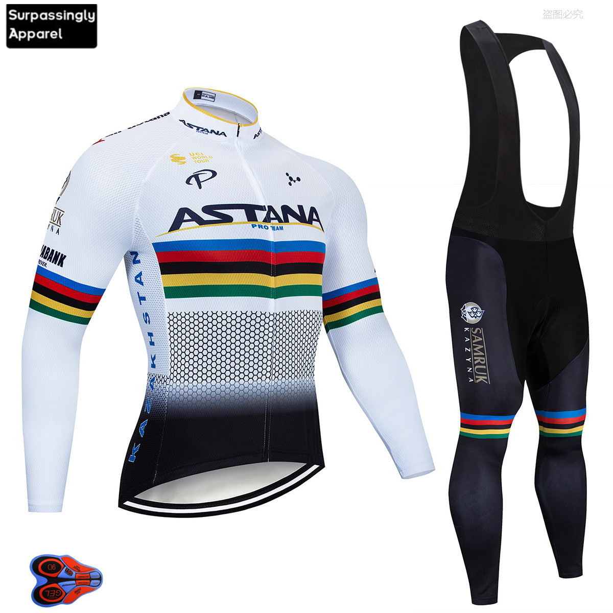 2019 ASTANA Men's Cycling Jersey Long Sleeve Set MTB Bike Clothing Maillot Ropa Ciclismo Hombre Bicycle Wear 9D GEL Bib pants