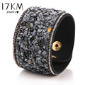 17KM Hot Fashion Vintage Width Natural Stone Bracelets for Women Men Punk Leather Bohemian Beads Charm Bracelet Gifts