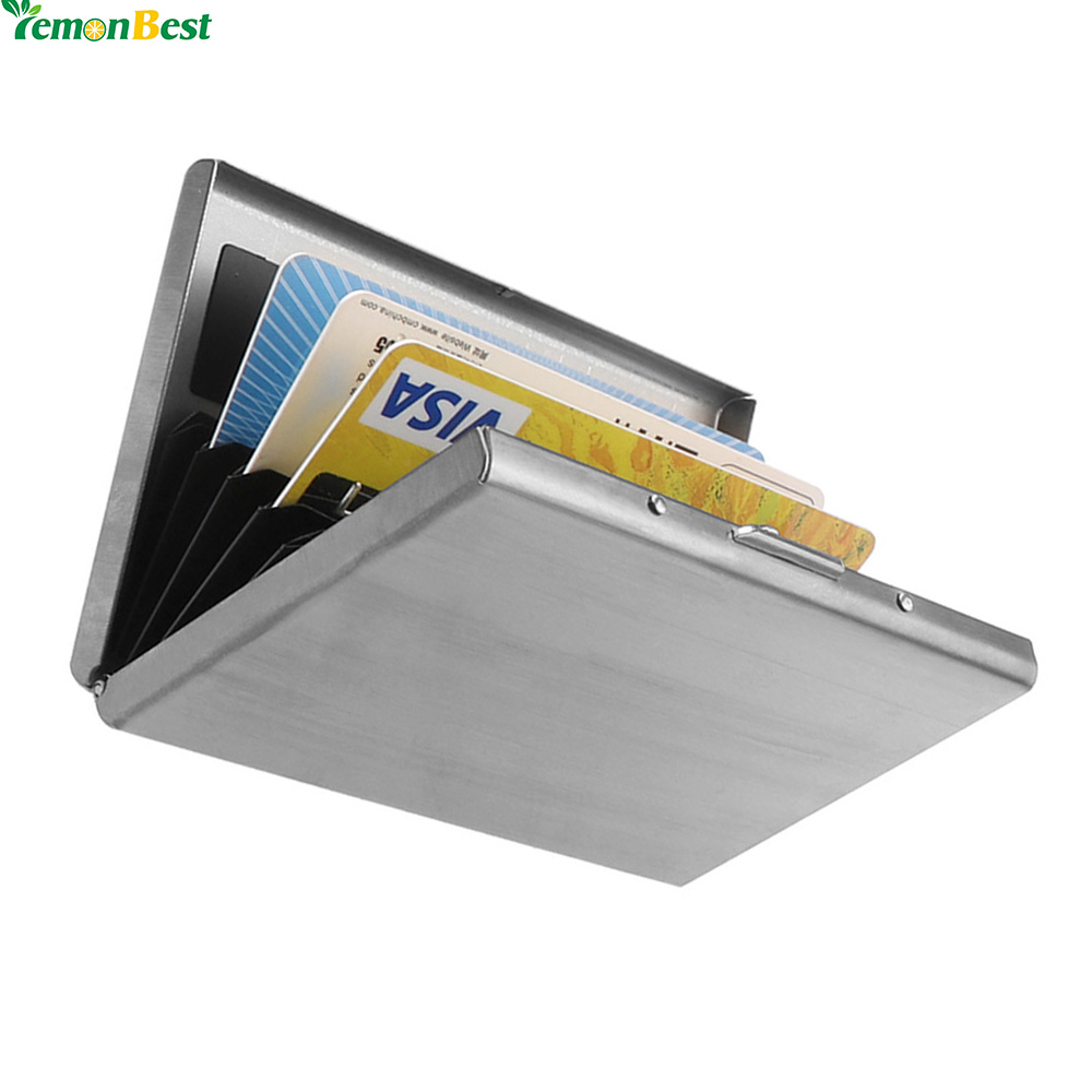 1pcs Rfid Blocking Credit Card Holder Stainless Steel Wallet Storage Box  Case For Id Card Business