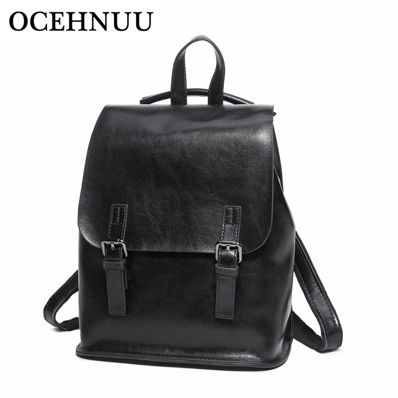 OCEHNUU Luxury Ladies Real Leather Backpacks Shoulder Bag Mochila Mujer Women Backpack Genuine Leather School Bag Female Black zoole brand genuine leather backpacks women school style cowhide travel bag ladies real leather backpack female designer mochila