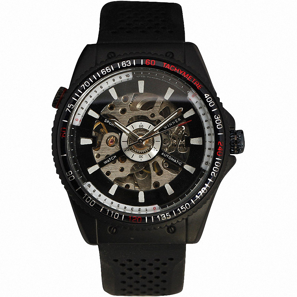 2016 WINNER Men Automatic Mechanical Watches Male Wrist-watch Silicone Strap Skeleton Dial Luminous Hands & Index Gift +BOX winner 2016 new automatic watch men s mechanical date display analog black silicone strap sports wrist watch men xfcs