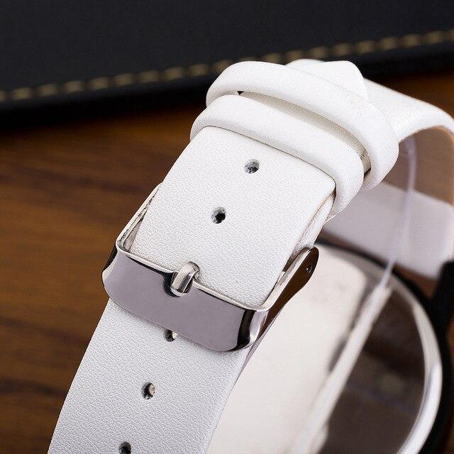 BAJEETA Hollow Dial Lovers Watch New Fashion PU Leather Quartz Women Men Watches Student Black White Wristwatch Relogio Feminino