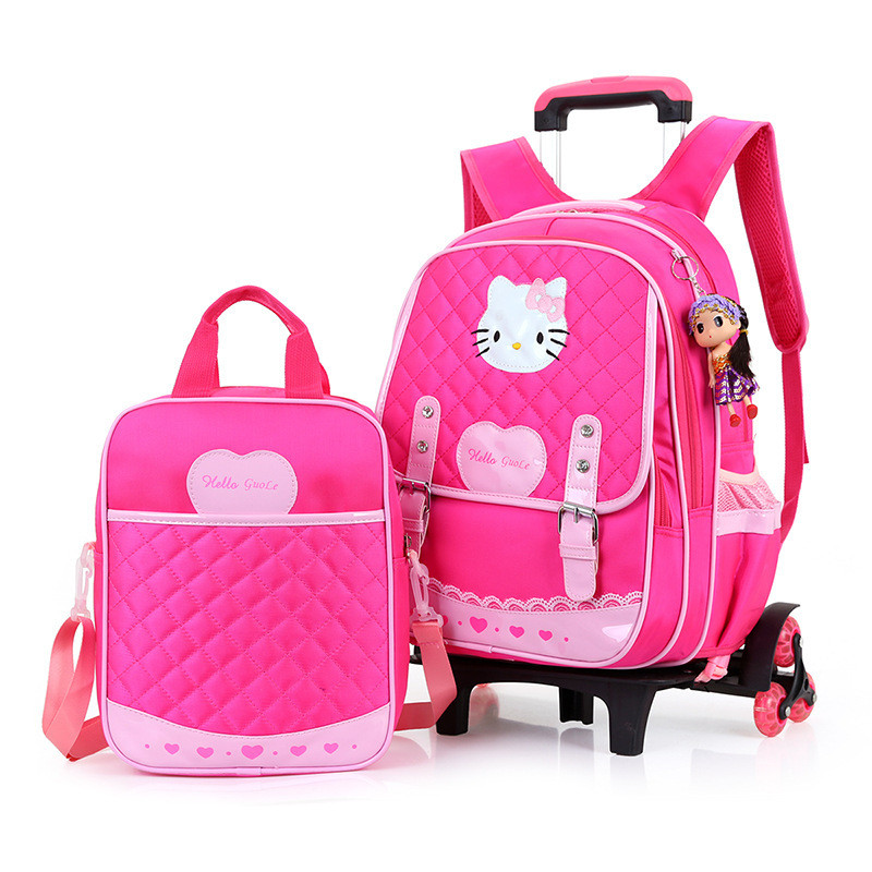 Kids Backpack With Wheel Stair Trolley School Bags Children's Backpack Schoolbags Wheeled Book Bag For Girls Mochilas japan pokemon harajuku cartoon backpack pocket monsters pikachu 3d yellow cosplay schoolbags mochila school book bag with ears