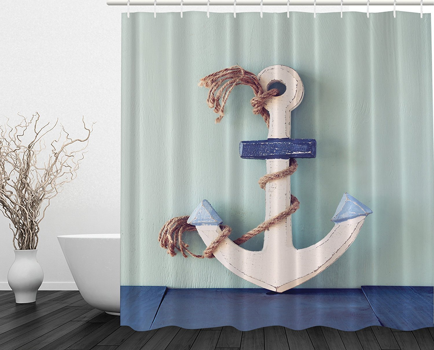 Memory Home Wooden Boating Anchor And Rope Nautical Coastal Home Decor Bathroom Set Modern Print Polyester