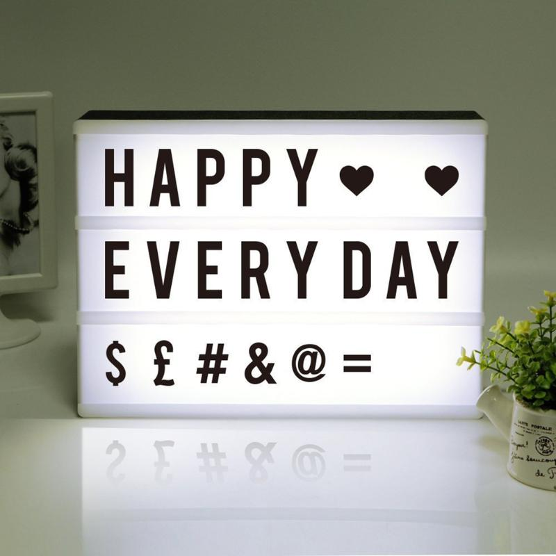 2018 New LED Combination Light Box Night Lights Lamp DIY black-and-white Letters Cards USB Port Powered Cinema Lightbox Letters globo потолочный светильник globo armena 48083 2