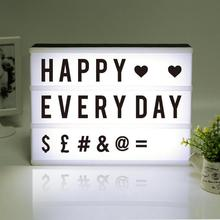2018 New LED Combination Light Box Night Lights Lamp DIY black-and-white Letters Cards USB Port Powered Cinema Lightbox Letters