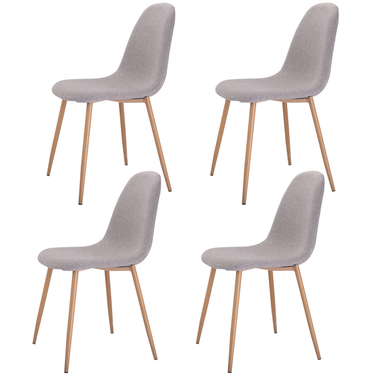 Giantex Set Of 4 Pcs Modern Dining Accent Side Chairs Living Room Wood Legs Leisure Chair Home