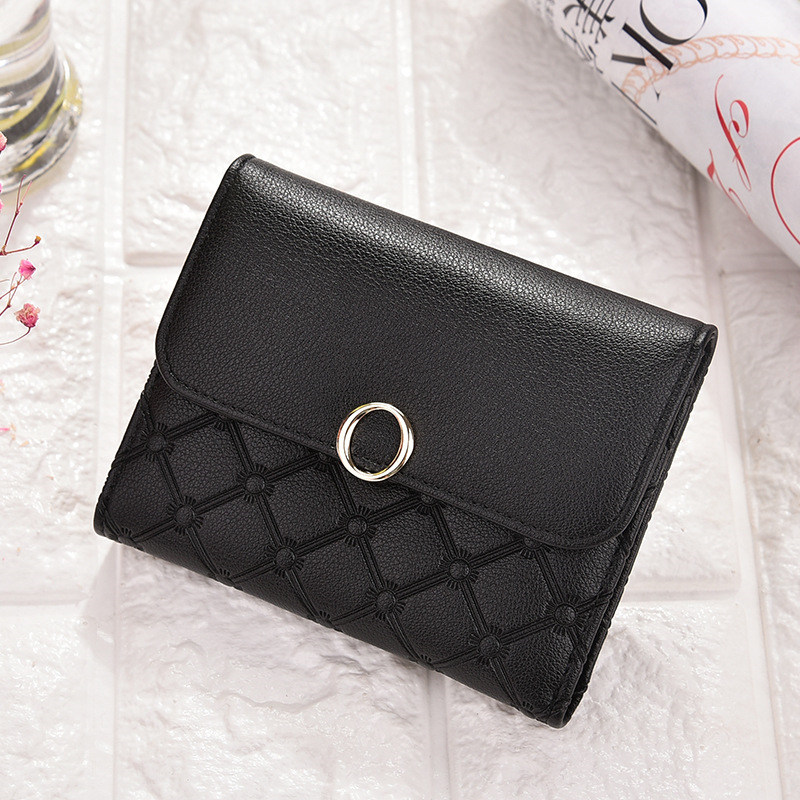 2019 Women Plaid Wallets Fashion Designer Short Leather Purse Ladies Card Bag Small Clutch Female Purse Money Clip Wallet in Wallets from Luggage Bags