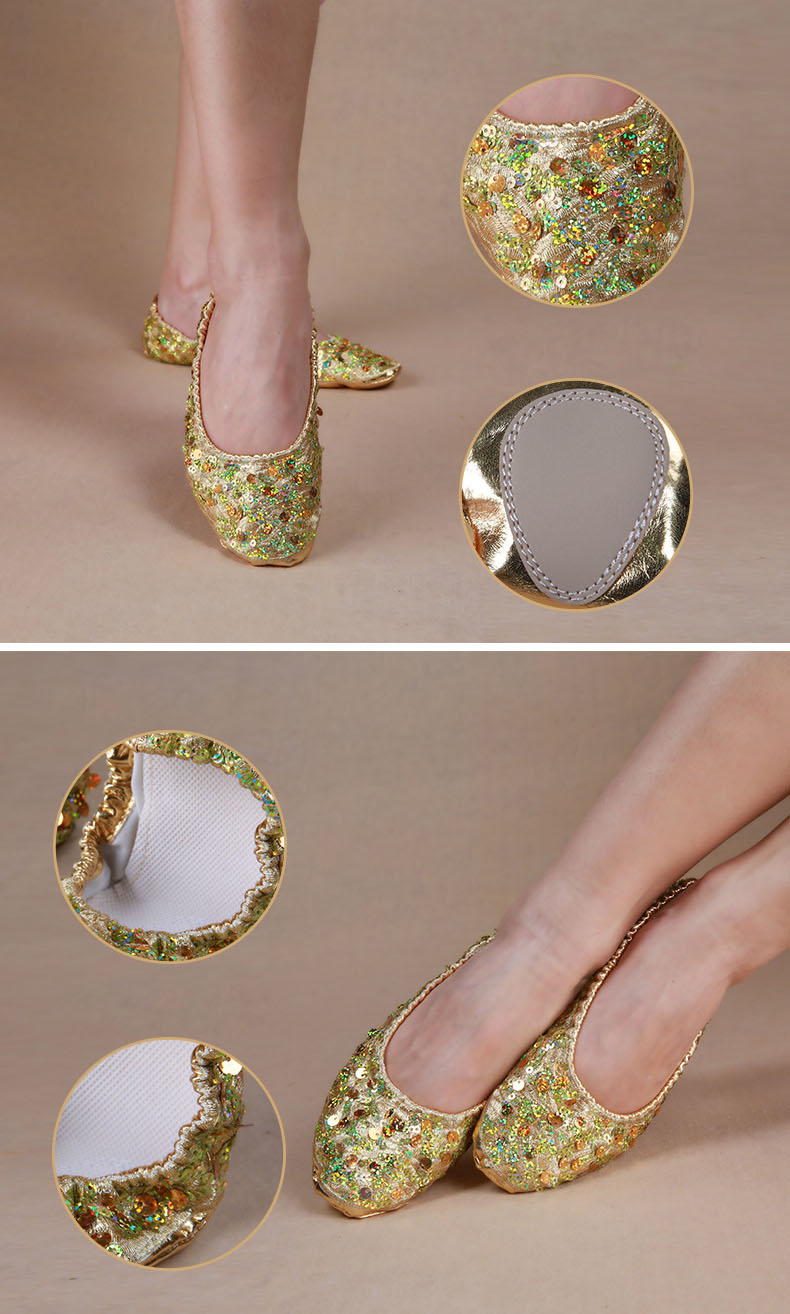Adult Soft Gold Silver Sequin Oriental Belly Ballet Dance Shoes for Women  Ballerina Gymnastics Foldable Practice Dancing Flats. size. 1 2 3 ... 18c6fdcae2a8