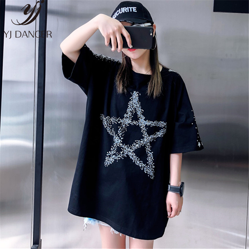 Loose Fashion Five-Pointed Star Dark Printing Short-Sleeved T-Shirt Female 2019 Summer New Round Neck T-Shirt Top H0056 1