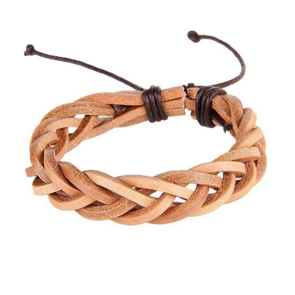 Skórzane bransoletki vintage dla kobiet Punk bransoletka skórzana bransoletka & mężczyzna nadgarstek Wrap mężczyzn biżuteria Drop Shipping