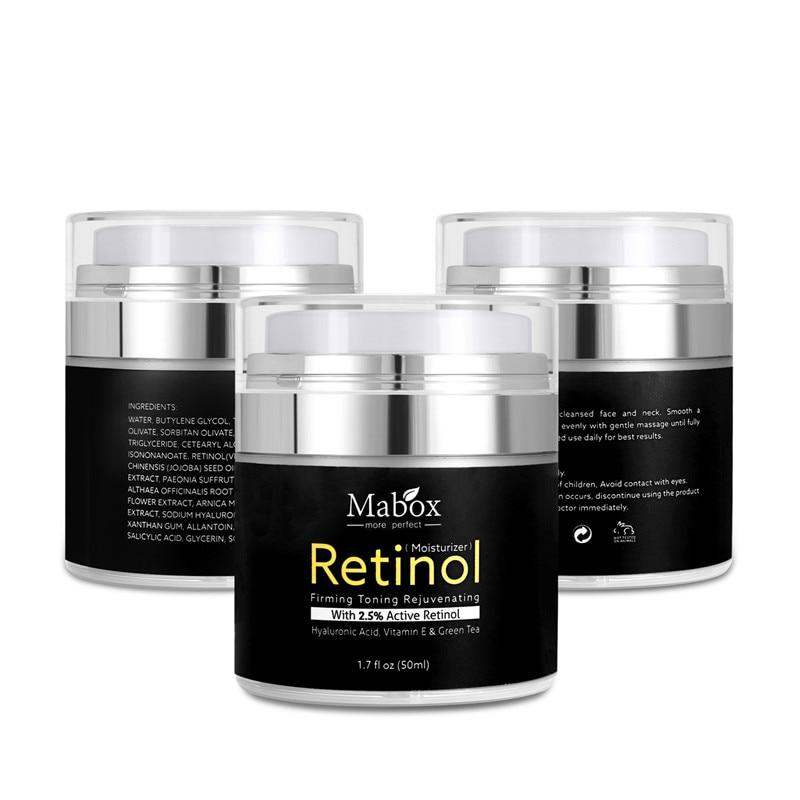 Mabox Retinol 2.5% Moisturizer Face Cream Vitamin E Collagen Retin Anti Aging Wrinkles Acne Hyaluronic Acid Whitening Cream