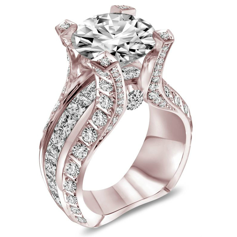 New Fashion Rose Gold Color White Stone Crystal Wedding Rings For Women Znic Alloy Finger Rings Party Jewllery Gift F5Y023