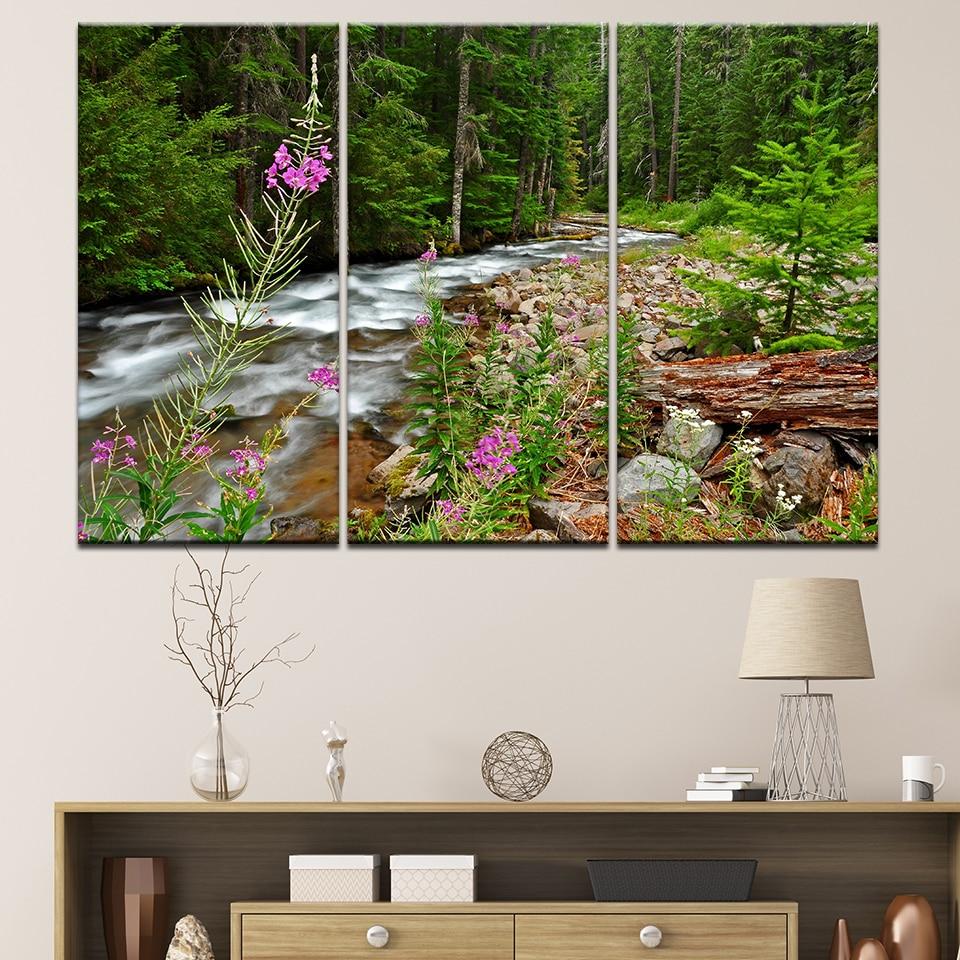Autumn trees river Paintings 5PCS HD Canvas Print Home Decor Wall Art postesrs