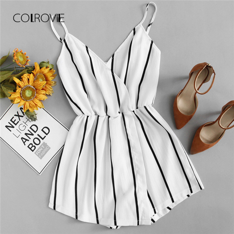COLROVIE Wrap Casual Vertical Striped Romper Summer V Neck Playsuit Mid Waist Women Rompers Strap Beach Short Jumpsuit