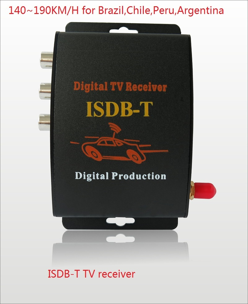 ISDB T Car Digital TV receiver 190km h Car ISDBT TV Tuner 2 video output For