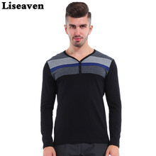 Liseaven Uomini di Marca T Shirt A Manica Lunga Scollo A V Completa Sleeve Striped Stampa Nero T-Shirt Fitness Cotton Tee Men Tops(China)