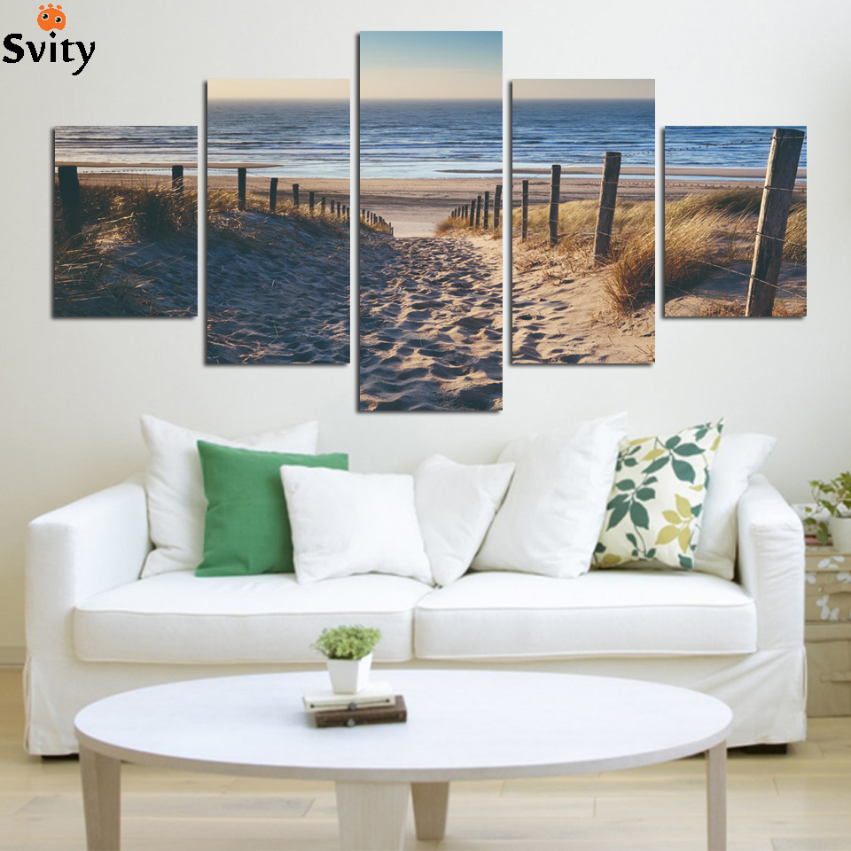 Beach wall decor for living room - Wholesale 5 Panel Abstract Beach Paintings Cuadros Wall Art Canvas Beach Paintings Wall Pictures For Living Room Unframed F1676