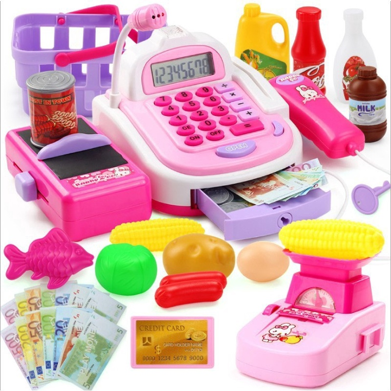 Kids Pretend Play Cash Register Toys Shopping Cashier Register  Play Cash Register Kids Play House Plastic