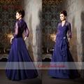 New Styles V Neck 3 / 4 Sleeves Floor Length Applique Taffeta Mother Of The Bride Dresses For Wedding