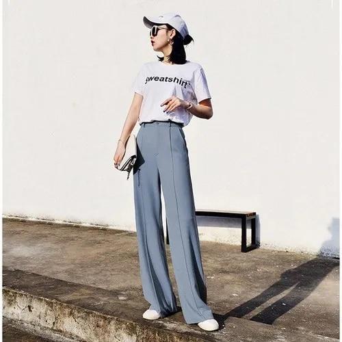 woherb 2019 modis Summer Wide Leg Pants Women elastic High Waist Palazzo Pants streetwear Elegant Office Ladies Trousers 22507