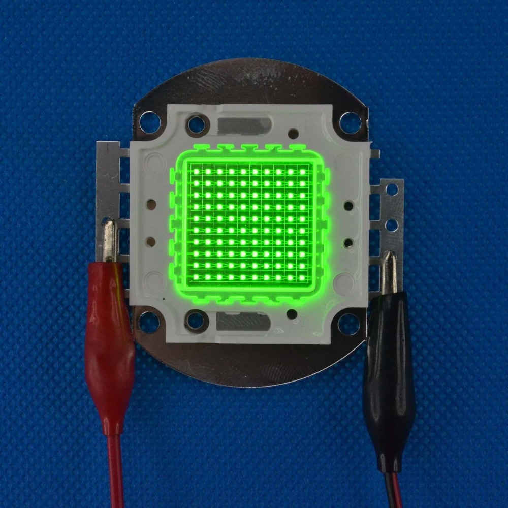 High Power 100W Square Base Bright Green 520nm~525nm SMD LED diodes Light Parts 32V 3000mA 100w square base infrared ir 850nm smd led light lamp parts 17v 3500ma