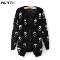 2016 Autumn Winter New Women Sweater Knit Wool Sweater Skull Hippocampus Fashion Cardigan Loose Sweater Coat