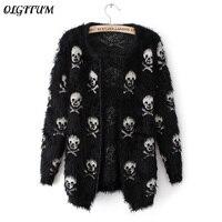 2016 Autumn Winter New Women Sweater Knit Wool Sweater Skull Hippocampus Fashion Cardigan Loose Sweater Coat
