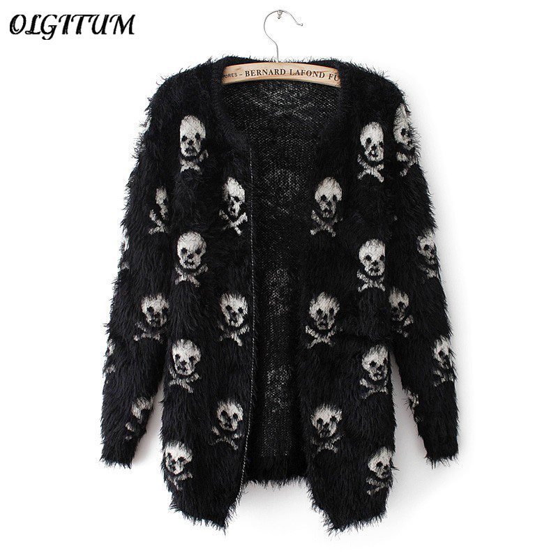 2019 Autumn Winter New Women Sweater Knit Wool Sweater Skull Head Hippocampus Fashion Cardigan Loose Sweater Coat
