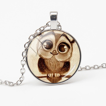 2019Adorkable Owl Pendant Necklace Big Eye Cute Bird Cartoon Retro Animal Pattern Glass Pendant Long Chain Vintage Necklace gift 2019 cute owl pendant and necklace tricolor long chain necklace retro glass cabochon gift ornament necklace