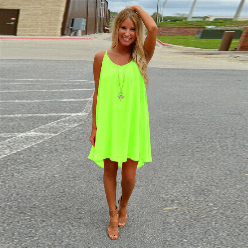 Women Sexy Candy Color Summer Casual Dress Sleeveless Fashion O Neck Loose Beach Dress Short Mini Dress Plus Size in Dresses from Women 39 s Clothing