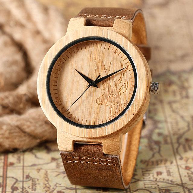 2016 Venda Quente de Madeira Relógio Projeto Da Cabeça Dos Cervos Do Vintage Criativo Nobre Relógio de Pulso Das Mulheres do Relógio Dos Homens Com Couro Genuíno Relojes